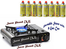 PORTABLE GAS COOKER STOVE + 2/4/8 BUTANE BOTTLES CAMPING