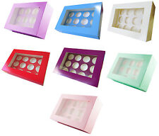 """4"""" Deep Cupcake Cake Boxes Holds 12 Pick Any Colour & Quantity"""