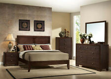 Bedroom Furniture Set 4Pcs King Queen Size Bed Espresso Dresser Mirror Nt Stand
