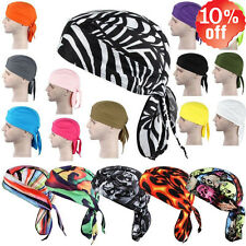Hot Fitted Solid Color Tied BACK BANDANA DOO RAG Do Du Motorcycle Skull Cap Men