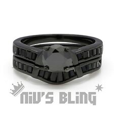 18K Black Gold Wedding Engagement Band Set CZ Womens Ladies Bridal Wedding Ring