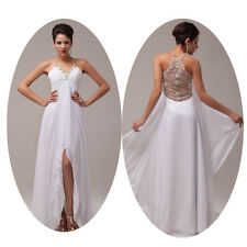 Homecoming White Long Formal Party  Evening Pageant Wedding Dresses Ball Gown