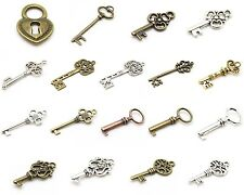 Vintage Style Skeleton Key & Lock Charms & Pendants - Tibetan Silver Alloy