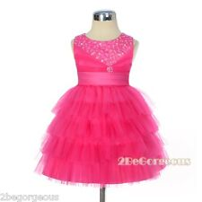 Beaded Satin Tulle Wedding Flower Girl Birthday Dress HotPink Baby Age 6m-3y 292