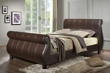 SLEIGH BED FRAME Faux leather top quality, 4ft6 Double, 5ft King,  6ft Superking