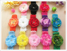 """15 LOT wholesale 3.5"""" Silk and Chiffon Baby Flower Crystal Center Hair Bow Clip"""