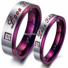 "Purple Stainless Steel "" Love Token "" Anniversary Wedding Band Promise Ring"