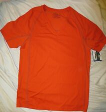 NWT Calvin Klein U1738 Athletic Short Sleeve V-Neck Shirt Orange $38