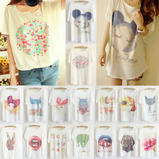 New Thin Plus Size Loose Batwing Sleeve Graphic Prints Women T-Shirt Top Blouse