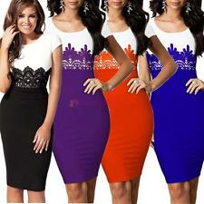 Womens Ladies Celeb Style Lace Evening Wedding Bodycon Pencil Dress Size 8-18