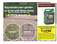 PATIO WIZARD MOSS AWAY 1 LTR -REMOVE MOSS, ALGAE, FUNGI MOULD, WEED GREEN GROWTH