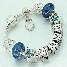 Girls Teens Personalise Charm Bracelet Aqua Blue Silver Star Beads Any Name Gift