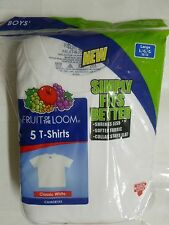 NEW Fruit Of The Loom TAGLESS 5 pack Boy's White T-Shirts Crew Neck S,M,L,XL
