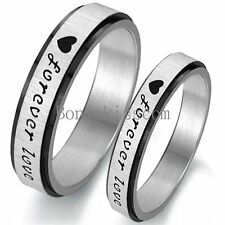 """Silver Stainless Steel Black """" Forever Love """" Engagement Ring Wedding Band"""