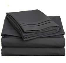 LUXURIOUS 2 LINE EMBROIDERED 4 PC BED SHEET SET, KING QUEEN TWIN FULL, GREY
