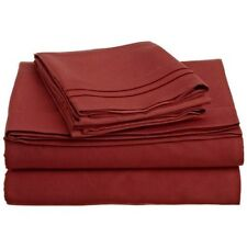 LUXURIOUS 2 LINE EMBROIDERED 4 PC BED SHEET SET, KING QUEEN TWIN FULL, RED