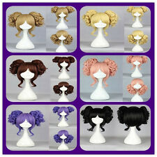 Lolita Short Blonde/Black/Purple/Pink/Brown Cosplay Wig with Two Curly Ponytail