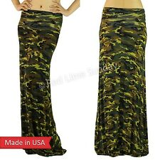 Women Trend Camouflage Soft Rayon Wide Fold Over Army Green Long Maxi Skirt USA