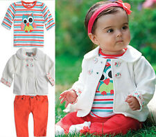 NEW 3PCS Infant Baby Girl's Long Sleeve Jacket Tshirt Pants Set Kid Outfits 0-2Y