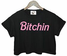 BITCH CROP TOP TANK T SHIRT FCUK RETRO GRUNGE HIPSTER SWAG WOMENS FESTIVAL TUMBL