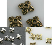 New 100pcs Retro Silver/Golden/Bronze Tone Leaf Bead Caps 6mm For Jewelry Making