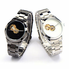 New White Black Stainless Skeleton Automatic Mechanical Watch Couple Gift Box
