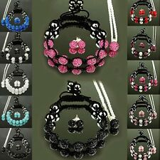 New Fashion Shamballa Bracelet Earring Necklace Sets Women Silver Jewelry Gift