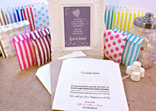 Personalised Sweet Bags THANK YOU NOTE Candy Cart Wedding Favours Confetti Engag