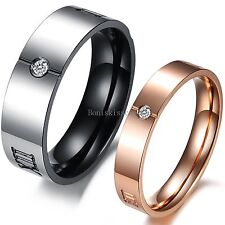 Stainless Steel Roman Numerals Promise Engagement Ring Anniversary Wedding Band