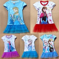 Girls Frozen Princess Snow Queen Elsa Top T-Shirt Tutu Dress Costume Clothes 2-7