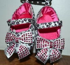 Mary Janes Cheetah Leopard Animal Print Baby Shoes Sandals Pink Gems on Bow