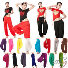Womens Harem Genie Yoga Dance Pants Aladdin Belly Hippie Baggy Jumpsuit Trousers