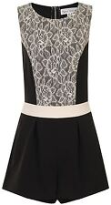 Paper Dolls Lace Panel Sleeveless Playsuit Black/Cream - UK 8, 10, 12, 14, 16