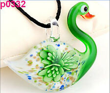 Fashion cute Swan Flower lampwork Murano art glass beaded pendant necklace