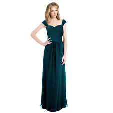 Sophisticated Chiffon Floor Length Formal Evening Gown Bridesmaid Dress Teal