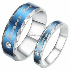 """Blue Stainless Steel Ring """" Forever Love """" Promise Engagement Wedding Band"""