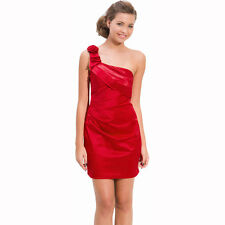 Draped Satin One Shoulder Formal Cocktail Evening Dress Prom Party Wear Crimson