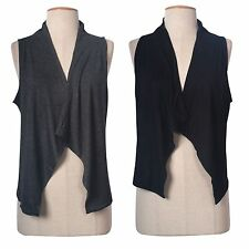 Solid Plain Sleeveless Front Open Draped Irregular Hem Cardigan Casual Vest Top