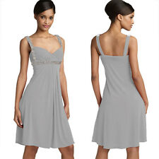 Sexy Beaded Knee Length Formal Cocktail Party Club Prom Dress Grey