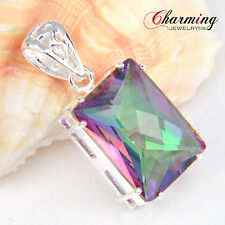 HOT Sale Fire Rainbow Mystical Topaz Gems Silver Necklace Pendant For Party GIFT