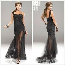 Black Lace Prom Ball Cocktail party wedding dress Bridal Formal Evening gown