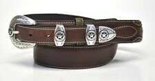 New Nocona Men's Western Ranger Star Leather Belt & Buckle-Brown-N2481802
