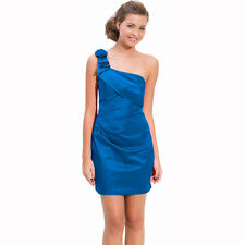 Draped Satin One Shoulder Formal Cocktail Evening Dress Prom Party Wear Blue