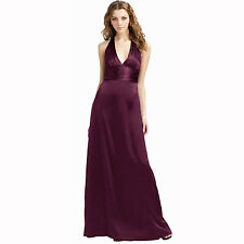 Halter Neck Silk Satin Formal Evening Bridesmaid Dress Party Ball Gown Plum