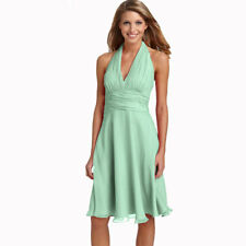 New Halter Neck Chiffon Formal Cocktail Bridesmaid Evening Party Dress Mint