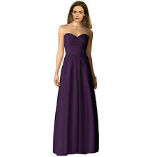 Strapless Full Length Chiffon Bridesmaids Dress Formal Evening Gown Deep Purple