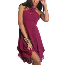 Hitched Chiffon Bubble Hem Convertible Cocktail Party Dress Violet