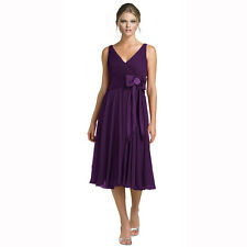Stunning Rhinestone Chiffon Cocktail Party Bridesmaid Dress Evening Wear Purple