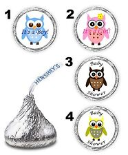 108 OWL BABY SHOWER GIRL BOY KISSES LABELS FAVORS STICKERS DECALS PINK BLUE