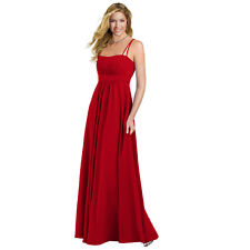 Elegant Chiffon Spaghetti Formal Evening Gown Bridesmaid Maxi Dress Scarlet